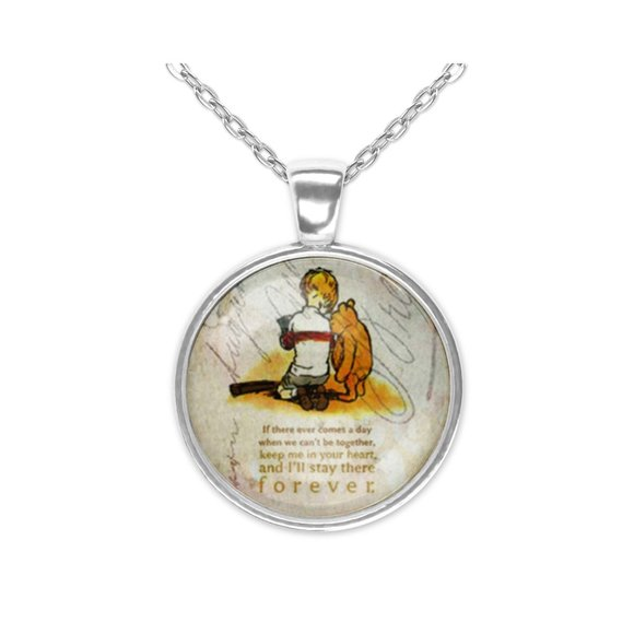 Forever Love Winnie the Pooh Christopher Robin Life Quote Pendant Necklace